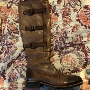 Vince camuto distressed brown leather riding boots